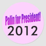 ¡Palin para el presidente! 2012 Pegatina Redonda