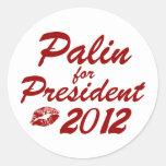 Palin para el presidente pegatinas redondas
