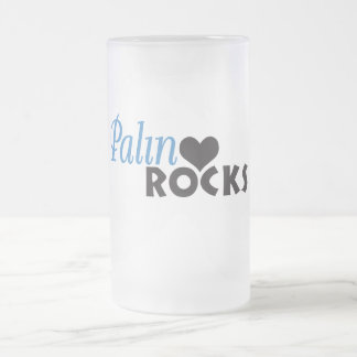 Palin Rocks My Heart Frosted Glass Beer Mug