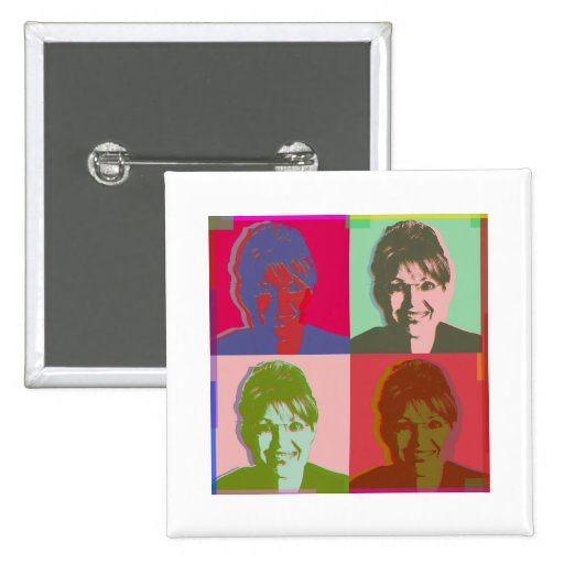 palin sarah 2 inch square button