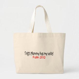 Palin-Trig's Mom Has My Vote Large Tote Bag