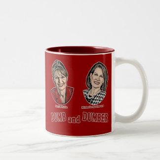 Palin y Bachmann mudos y más mudos Taza De Dos Tonos