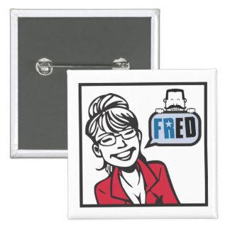 Palin y Fred Pin Cuadrada 5 Cm