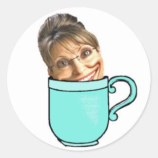 Palin's tea party classic round sticker