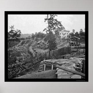 Palizadas confederadas de Atlanta 1864 Póster