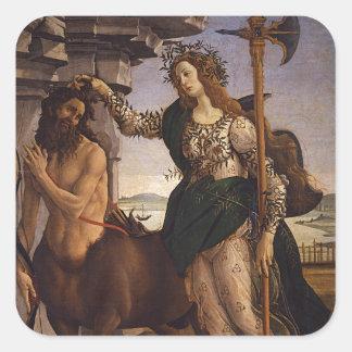 Pallas and the Centaur by Botticelli Square Sticker
