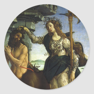 Pallas and the Centaur by Sandro Botticelli Classic Round Sticker
