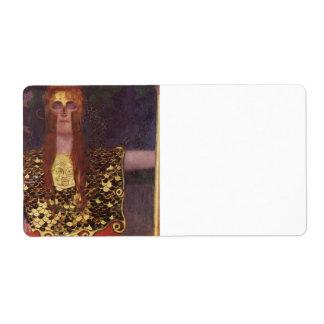 Pallas Athena by Gustav Klimt Label