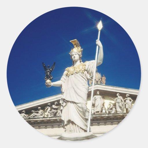 Pallas-Athene Fountain Round Stickers