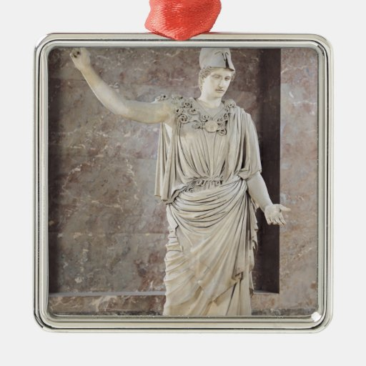 Pallas de Velletri, estatua de Athena con casco Adorno Navideño Cuadrado De Metal