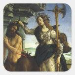 Pallas y el Centaur de Sandro Botticelli Pegatina Cuadrada