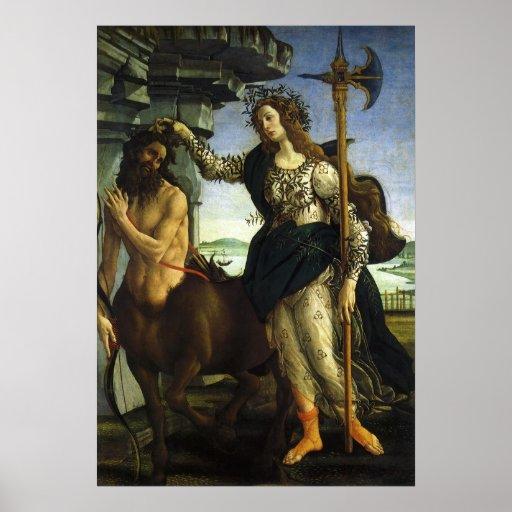 Pallas y el Centaur de Sandro Botticelli Póster