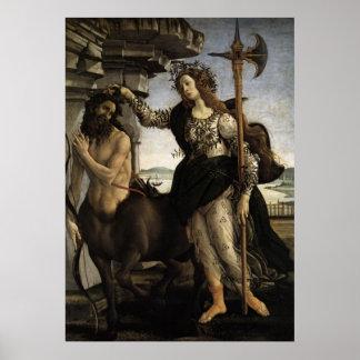 Pallas y la impresión de la lona del Centaur Póster
