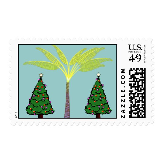 Palm and Christmas Trees Postage
