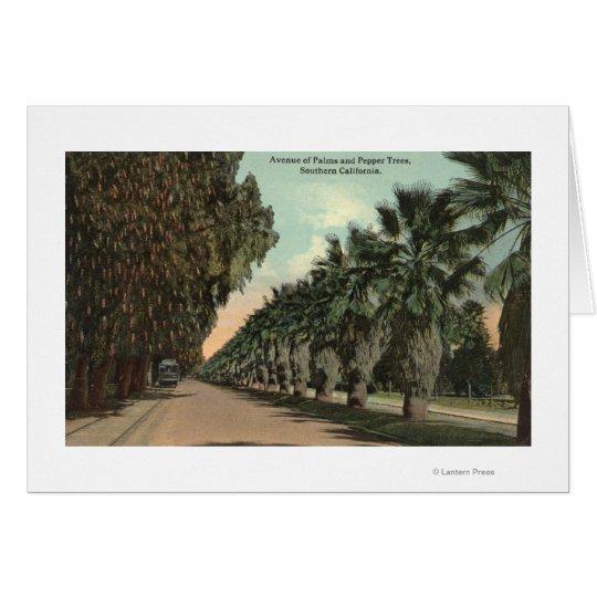 Palm and Pepper Trees Alongside Avenue Card