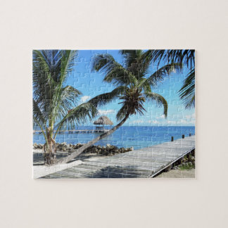 Palm and Pier in Belize Jigsaw Puzzle