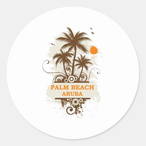 Palm Beach Aruba Pegatina Redonda