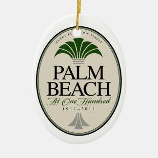Palm Beach en el ornamento 100 Adorno Navideño Ovalado De Cerámica