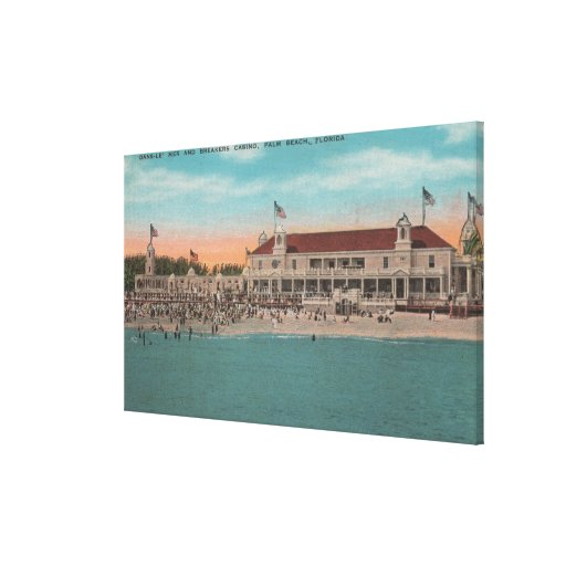 Palm Beach, FL - Oceanview of the Breakers Casin Stretched Canvas Print
