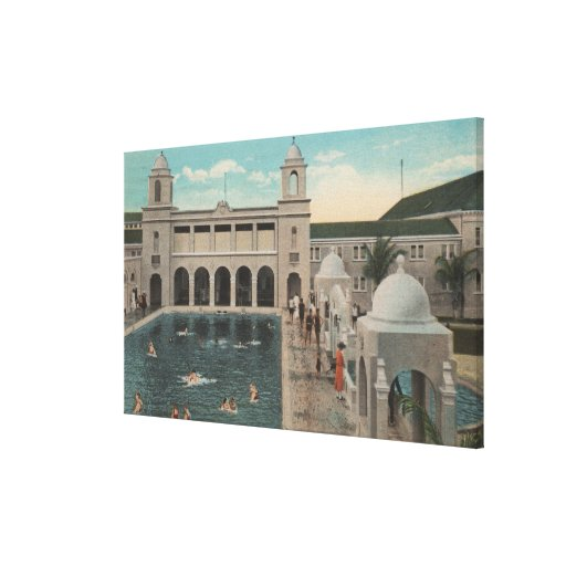Palm Beach, FL - Outdoor View of Pool & Casino Canvas Print
