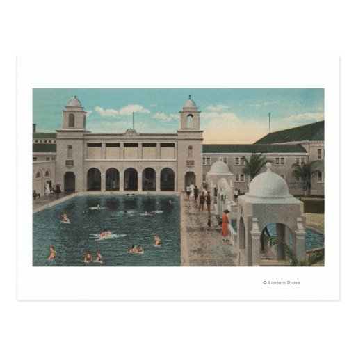 Palm Beach, FL - Outdoor View of Pool & Casino Post Card