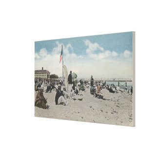 Palm Beach, FL - The Swimming Hour Stretched Canvas Print