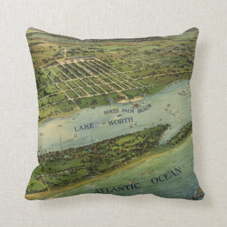 Palm Beach Florida 1915 Antique Map Pillow