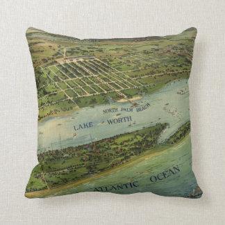 Palm Beach Florida 1915 Antique Map Throw Pillow