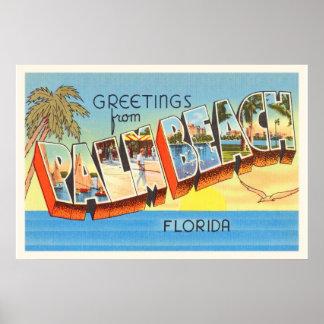 Palm Beach Florida FL Old Vintage Travel Souvenir Poster