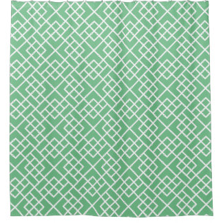 Palm Beach Green Geometric Bamboo Lattice Pattern Shower Curtain