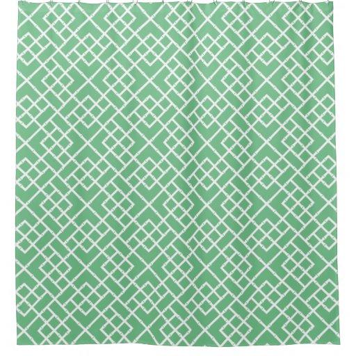 Palm beach green geometric bamboo lattice pattern shower curtain zazzle - Green curtain patterns ...