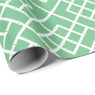 Palm Beach Green Geometric Bamboo Lattice Pattern Wrapping Paper