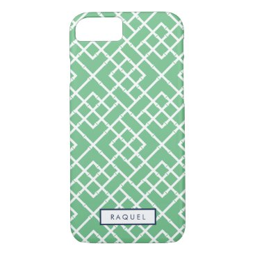 Beach Themed Palm Beach Green Geometric Bamboo Pattern iPhone 7 Case