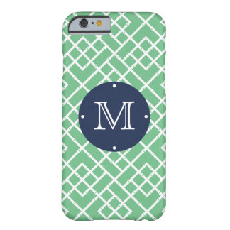 Palm Beach Green Geometric Bamboo Pattern Monogram Barely There iPhone 6 Case
