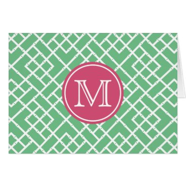 Beach Themed Palm Beach Green & Pink Geometric Bamboo Monogram Card