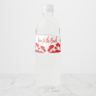 Beach Themed palm beach party favor water bottle label