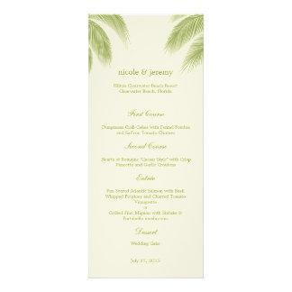 Palm Beach que casa la tarjeta del menú - verde Invitaciones Personalizada