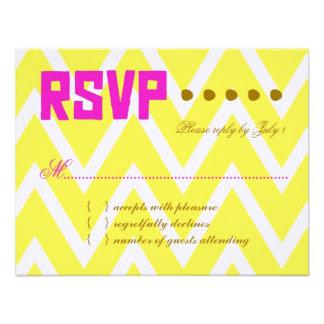 PALM BEACH RSVP Yellow Chevron Linen Paper Personalized Invites