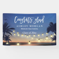 Palm Beach String Lights Congrats Graduation Party Banner