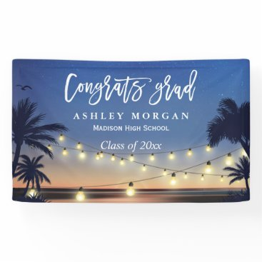 CardHunter Palm Beach String Lights Congrats Graduation Party Banner