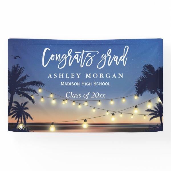 Palm Beach String Lights Congrats Graduation Party Banner