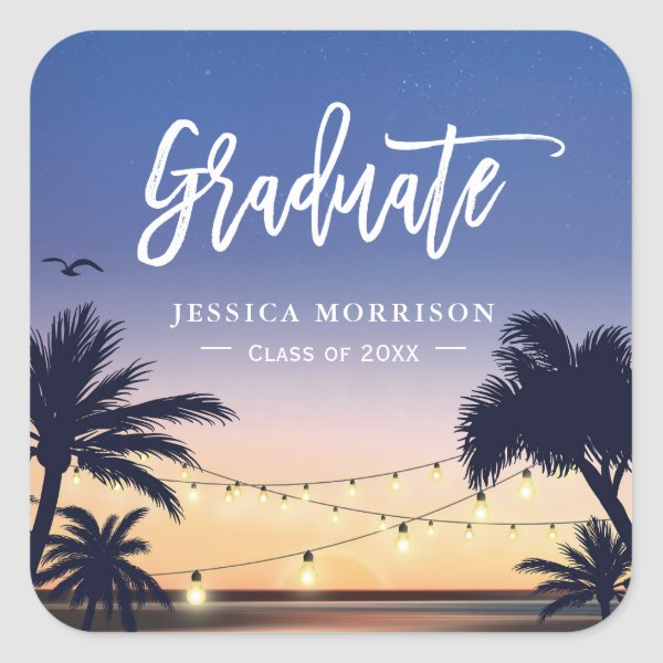 Palm Beach String Lights Graduate Graduation Favor Square Sticker