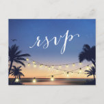 """Palm Beach String Lights Summer Sunset RSVP Reply Invitation Postcard<br><div class=""""desc"""">================= ABOUT THIS DESIGN ================= Palm Beach String Lights Summer Sunset RSVP Reply Card. (1) For further customization, please click the &quot;Customize&quot; button and use our design tool to modify this template. All text style, colors, sizes can be modified to fit your needs. (2) If you prefer thicker papers, you...</div>"""