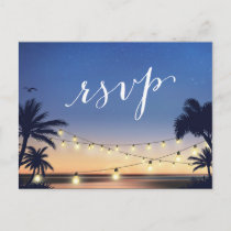 Palm Beach String Lights Summer Sunset RSVP Reply Invitation Postcard
