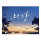 Palm Beach String Lights Summer Sunset RSVP Reply Postcard