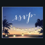 "Palm Beach String Lights Summer Sunset RSVP Reply Postcard<br><div class=""desc"">================= ABOUT THIS DESIGN ================= Palm Beach String Lights Summer Sunset RSVP Reply Card. (1) For further customization, please click the &quot;Customize&quot; button and use our design tool to modify this template. All text style, colors, sizes can be modified to fit your needs. (2) If you prefer thicker papers, you...</div>"