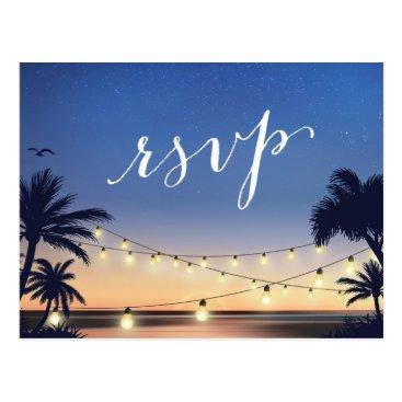 Beach Themed Palm Beach String Lights Summer Sunset RSVP Reply Postcard