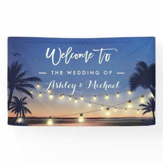 Palm Beach String Lights Summer Wedding Party Banner