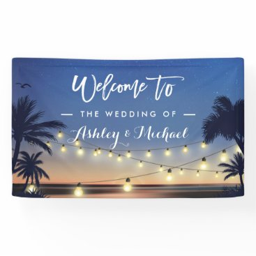 CardHunter Palm Beach String Lights Summer Wedding Party Banner