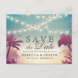 """Palm Beach String Lights Wedding Save the Date Announcement Postcard<br><div class=""""desc"""">Palm Beach String Lights Wedding Save the Date Postcard (1) If you are planning send out via USPS, you may consider use this version: https://www.zazzle.com/239372852674574822 (2) For further customization, please click the &quot;Customize&quot; button and use our design tool to modify this template. (3) If you need help or matching items,...</div>"""
